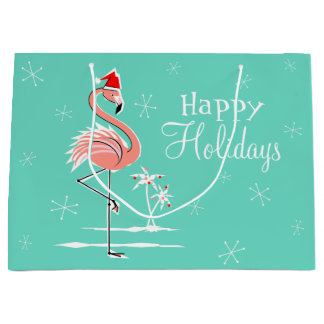 Christmas Flamingo Happy Holidays large gift bag