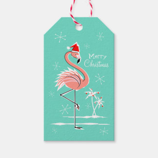 Christmas Flamingo Merry Christmas aqua back Gift Tags