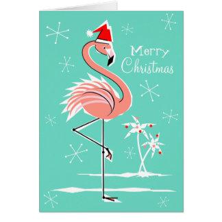 Christmas Flamingo Merry Christmas front Card