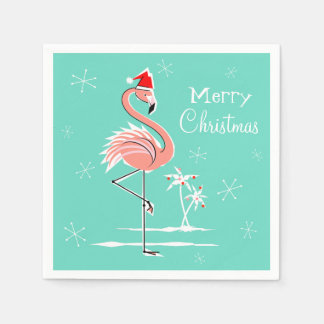 Christmas Flamingo Merry Christmas paper napkin