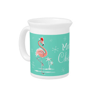 Christmas Flamingo Merry Christmas pitcher