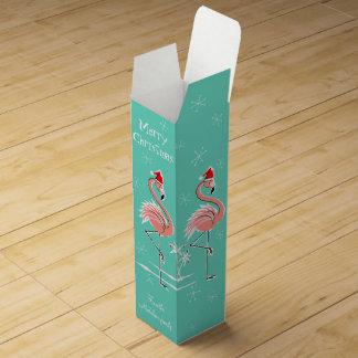 Christmas Flamingo Merry Christmas text Wine Gift Box
