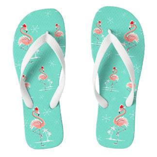 Christmas Flamingo Multi flip flops