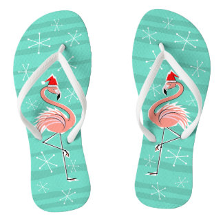 Christmas Flamingo Stripe flip flops