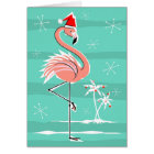 Christmas Flamingo Stripe Happy Holidays Card