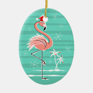 Christmas Flamingo Stripe Text ornament oval