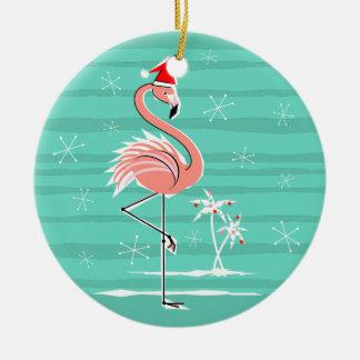 Christmas Flamingo Stripe Text ornament round