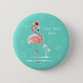 Christmas Flamingo Text button round