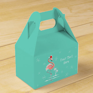 Christmas Flamingo Text favor box gable