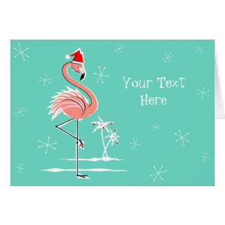 Christmas Flamingo Text horizontal Greeting Card
