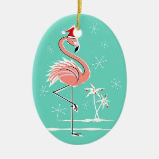 Christmas Flamingo Text ornament oval