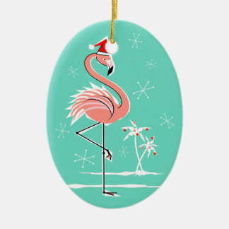 Christmas Flamingo Text ornament oval