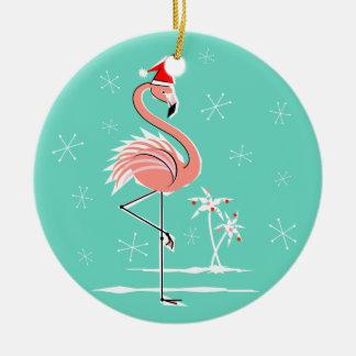 Christmas Flamingo Text ornament round