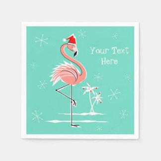 Christmas Flamingo Text paper napkin