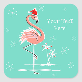 Christmas Flamingo Text sticker square