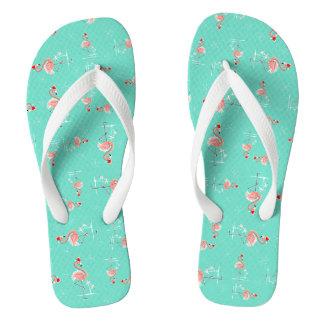 Christmas Flamingo Twist flip flops