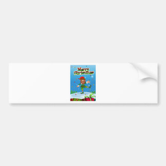 Christmas flashcard with Santa and ornaments Bumper Sticker