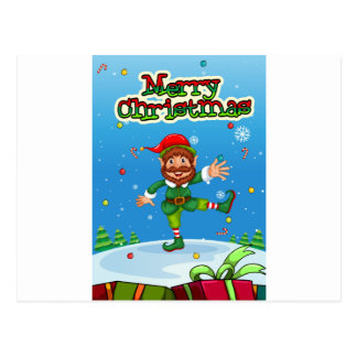 Christmas flashcard with Santa and ornaments Postcard