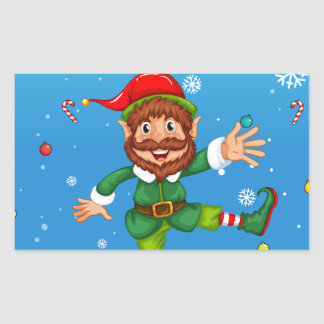 Christmas flashcard with Santa and ornaments Rectangular Sticker