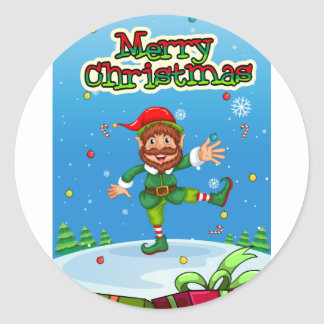Christmas flashcard with Santa and ornaments Round Sticker