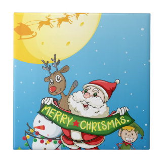 Christmas flashcard with Santa and ornaments Small Square Tile