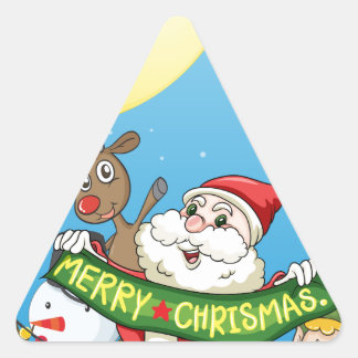 Christmas flashcard with Santa and ornaments Triangle Sticker