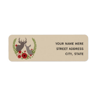Christmas Floral Deer Address Label