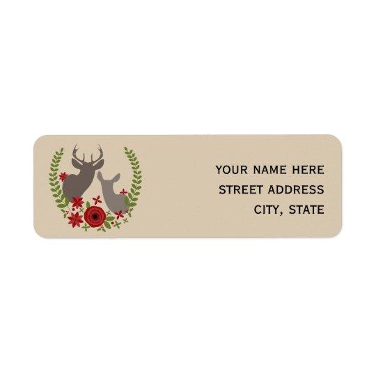 Christmas Floral Deer Address Label