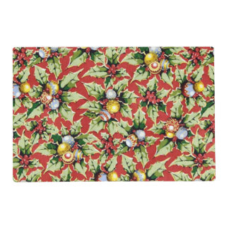 Christmas floral pattern laminated paper place mat laminated place mat