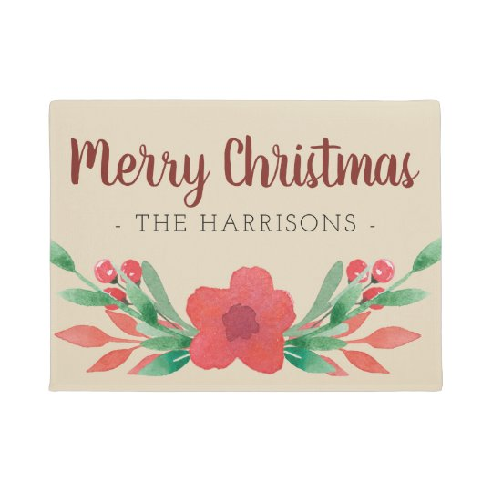 Christmas Floral Personalised Family Name Door Mat