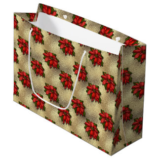 Christmas floral poinsetta pattern large gift bag