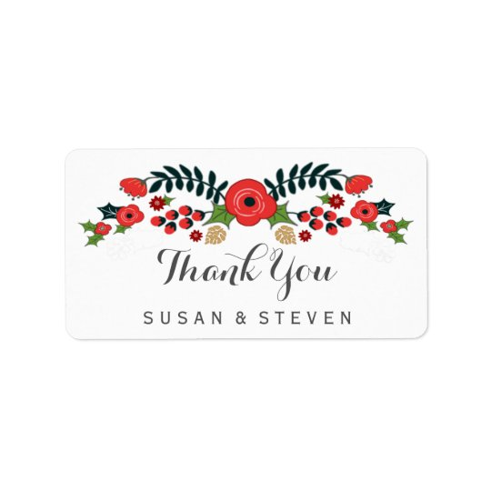 Christmas Floral Red & Green Thank You Labels