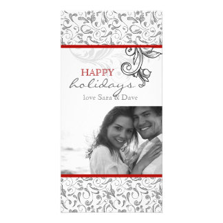 Christmas Floral Romantic Photo Card Red