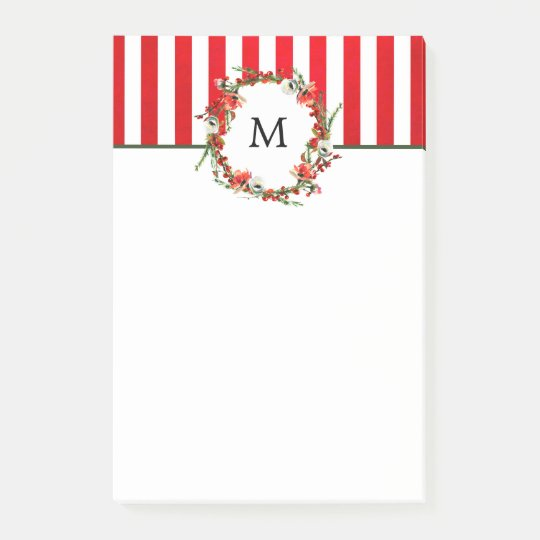 Christmas Floral Wreath and Red Stripes Post-it Notes