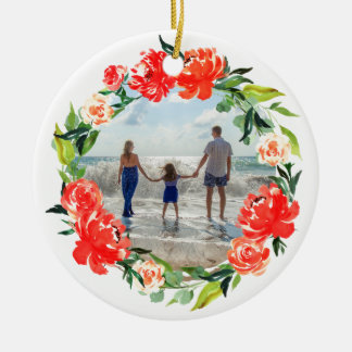 Christmas Floral Wreath Family Vacation Photo Christmas Ornament