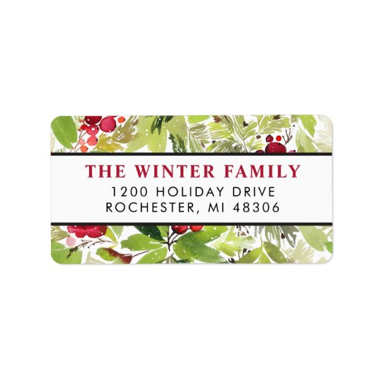 Christmas Florals | Watercolor Address Labels