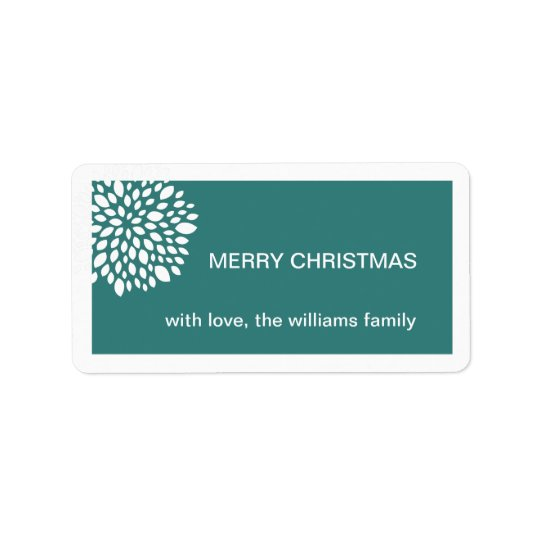 Christmas Flower Holiday Gift Tag-teal Label