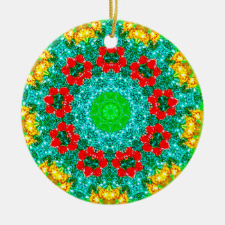 Christmas Flowers Fractal Christmas Ornament