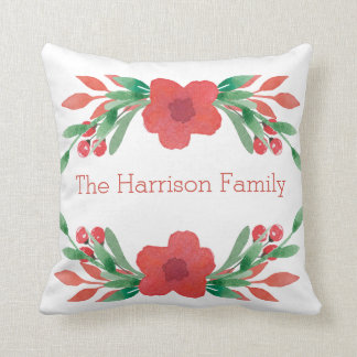 Christmas Flowers Personalized Name Pillow