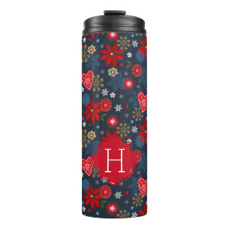 Christmas | Flowers & Snowflakes | Thermal Tumbler