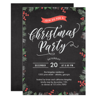 Christmas Foliage EDITABLE COLOR Party Invitation