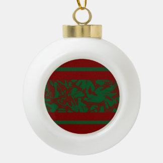 Christmas Foliage Red Green Design Ceramic Ball Christmas Ornament