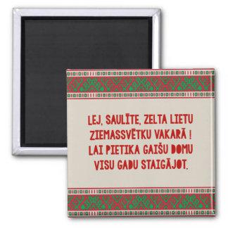 Christmas Folk Song I Latviesu Tautasdziesma Square Magnet