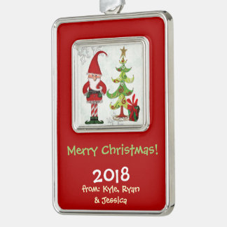 Christmas Folk Whimsey FAMILY PERSONALIZED Silver Plated Framed Ornament