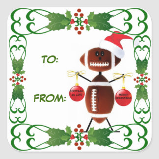 Christmas Football Gift Tag Square Sticker