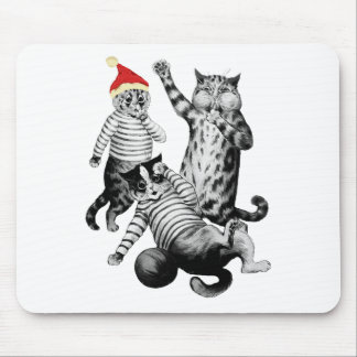 Christmas Football Playing Cats Mouse Pad