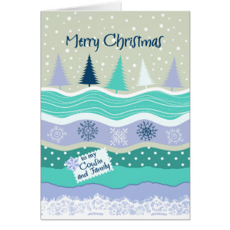 Christmas for Cousin & her Family Trees Snowflakes Card