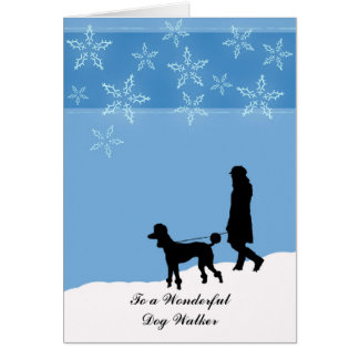 Christmas for Dog Walker, Poodle Walking in Snow Card