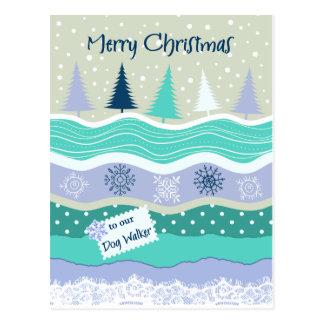 Christmas for Dog Walker Snowflakes Scrapbooking Postcard