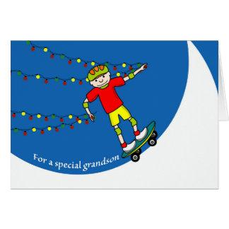 Christmas for Grandson, Skateboarder with Lights Card